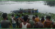 সুনামগঞ্জে যাত্রীবাহী বাস খালে: নিহত ১, আহত ৫